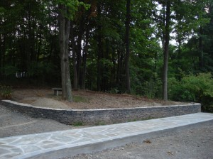 Mosaic-pattern-natural-cleft-bluestone-walkway-with-tumbled-bluestone-border-NY-bluestone-wall